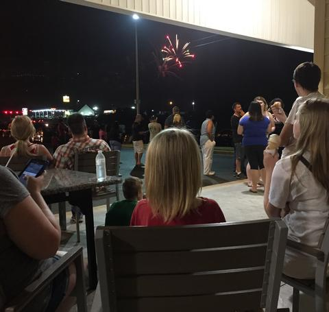 People Viewing Fireworks at Dippers